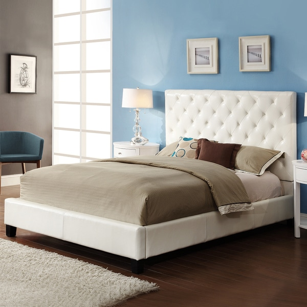 TRIBECCA HOME Sophie White Bonded Leather Tufted King-sized Upholstered Platform Bed