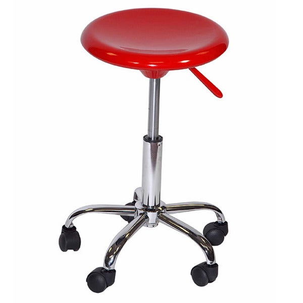 Martin Red Plastic and Stainless Steel Rolling Artisan Stool