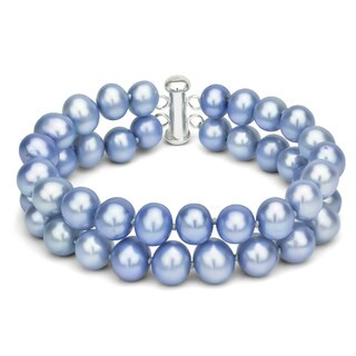 DaVonna Sterling Silver 2-row White Freshwater Cultured Pearl Bracelet with Tube Clasp (8 - 9mm) (Option: Blue)