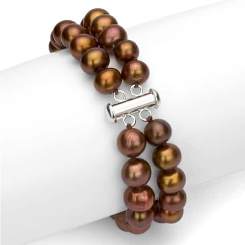 DaVonna Sterling Silver 2-row White Freshwater Cultured Pearl Bracelet with Tube Clasp (8 - 9mm)