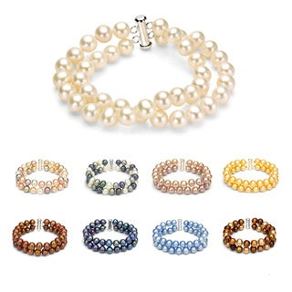 DaVonna Sterling Silver 2-row White Freshwater Cultured Pearl Bracelet with Tube Clasp (8 - 9mm) (More options available)
