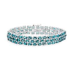 Glitzy Rocks Sterling Silver 28.5 CTW London Blue Topaz Three-Tier Bracelet