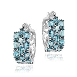 Glitzy Rocks Sterling Silver 9 CTW Blue Topaz Three-tier Hoop Earrings