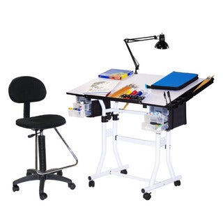 Martin Universal Design White Creation Station Drafting Table, Chair, Lamp and Tray Set