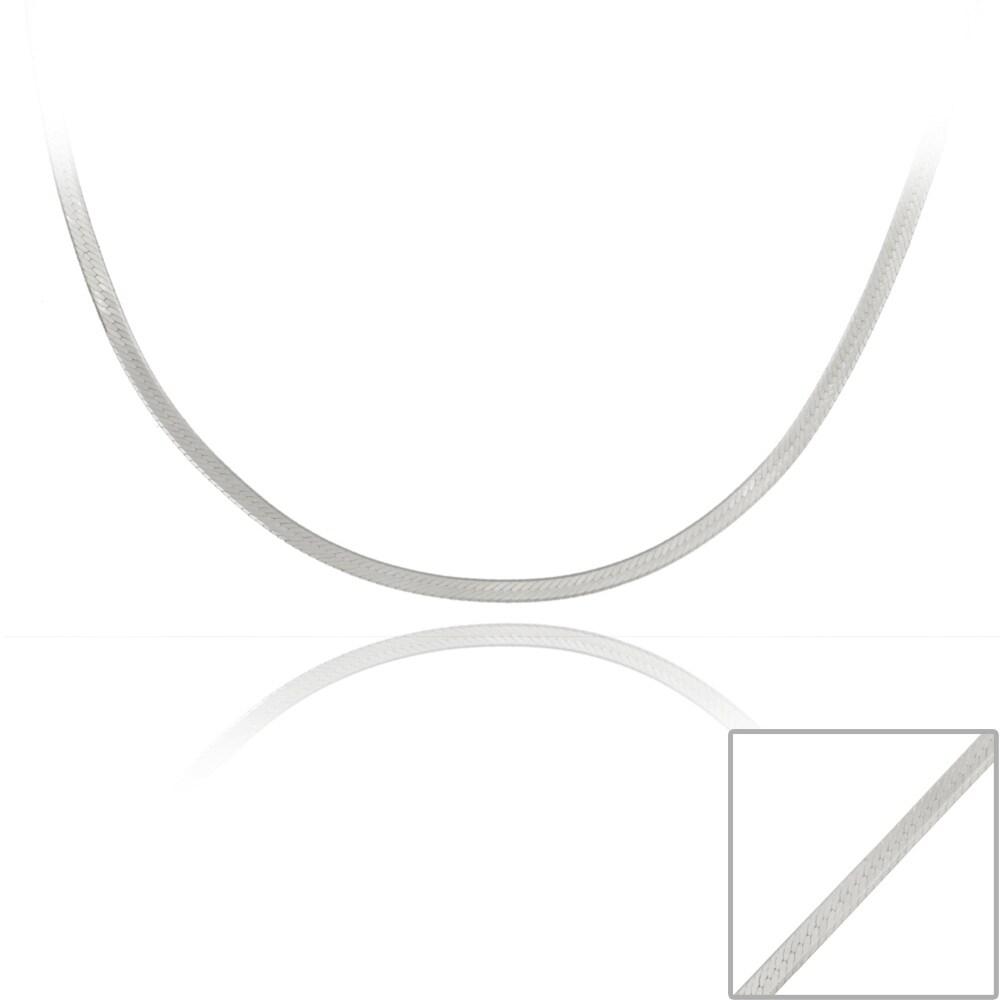 Mondevio Sterling Silver 24-inch Herringbone Chain Necklace