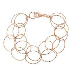 Mondevio Rose Gold over Silver 7.5-inch Double Link Bracelet