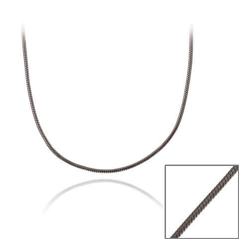 Mondevio Black Rhodium over Silver 36-inch Italian Snake Chain Necklace