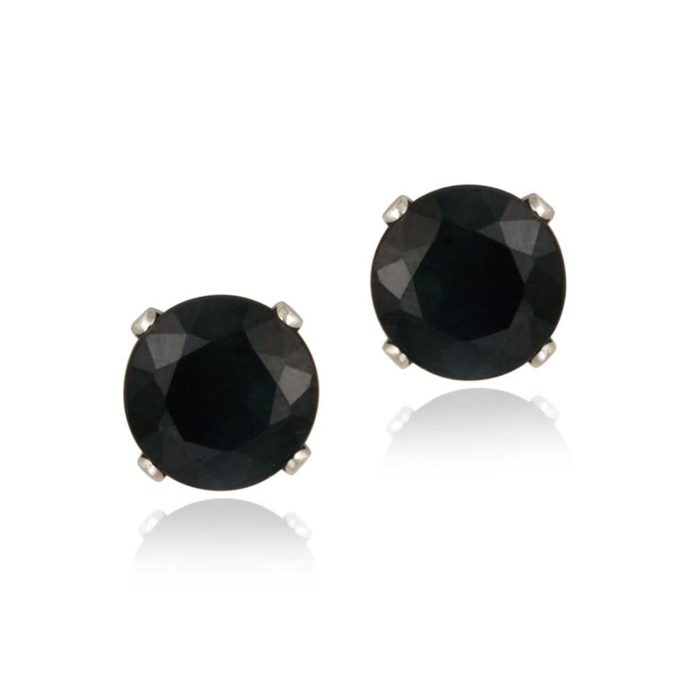 Glitzy Rocks 14k White Gold 3 1/5ct TGW 7mm Sapphire Stud Earrings