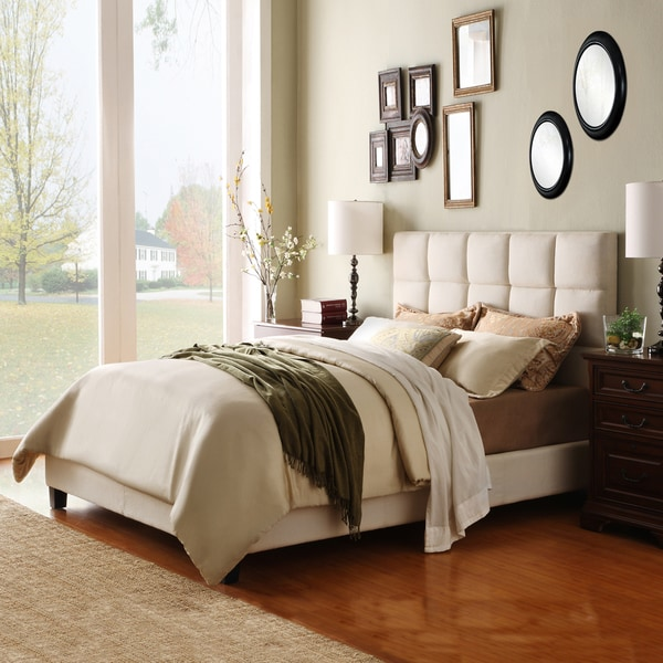 TRIBECCA HOME Sarajevo Beige Fabric Column King-sized Upholstered Platform Bed