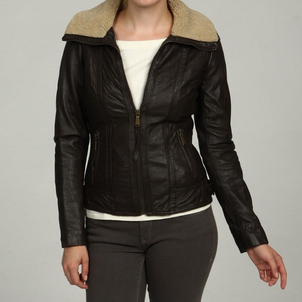 Michael Michael Kors Women S Brown Leather Aviator Jacket