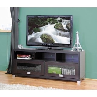 Baxton Studio Swindon Modern TV Stand with Glass Doors