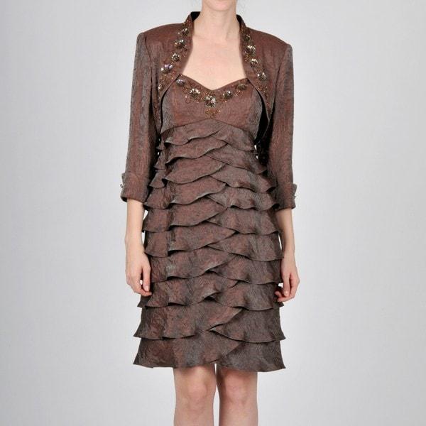 9cd32a95d29 Ignite Evening Women  x27 s Brown Sequin Embellished Bolero Jacket Dress