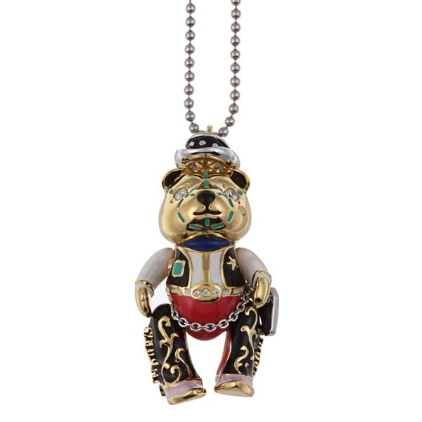 Silver and 14k Gold Cubic Zirconia and Enamel Bear Necklace