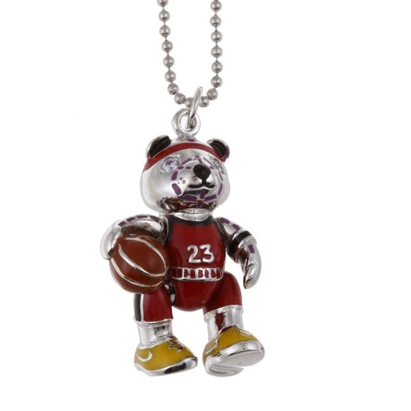 Sterling Silver Cubic Zirconia Basketball Bear Necklace