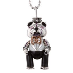 Sofia 14k Pink Gold over Silver Round-cut Cubic Zirconia Teddy Bear Necklace