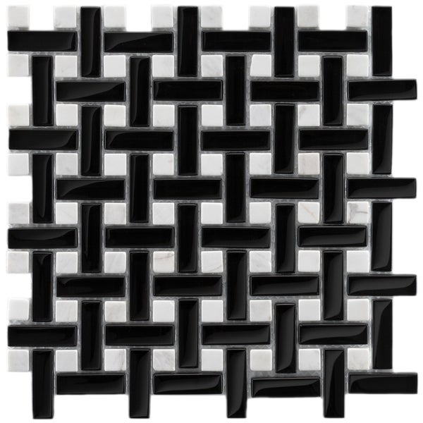 SomerTile Reflections Basketweave Classic Glass/ Stone Mosaic Tiles (Pack of 10). Opens flyout.