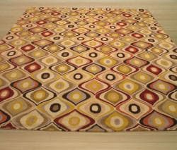 Hand-tufted Wool Contemporary  EORC Abstract Retro Chic Rug - Thumbnail 2