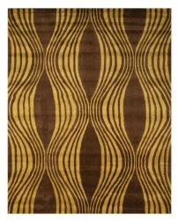 Hand-tufted Brown Waves Wool Rug (7'9 x 9'9) - 7'9 x 9'9 - Thumbnail 0