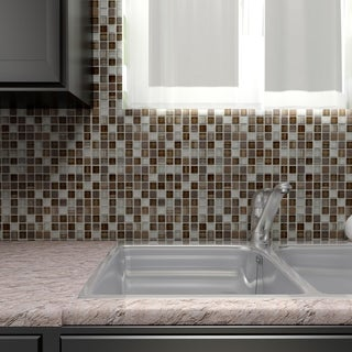 SomerTile 11.625 x 11.625-inch Reflections Square Truffle Glass and Metal Mosaic Floor and Wall Tile