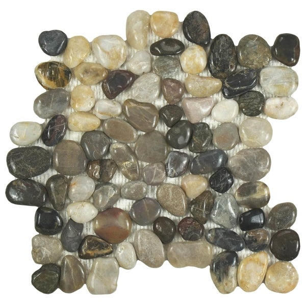 Somertile Riverbed Polished Natural Stone Mosaic Tiles (Pack of 10)