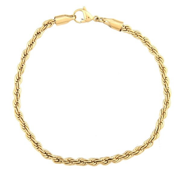 Stainless Steel and Gold IP Men's Rope Bracelet
