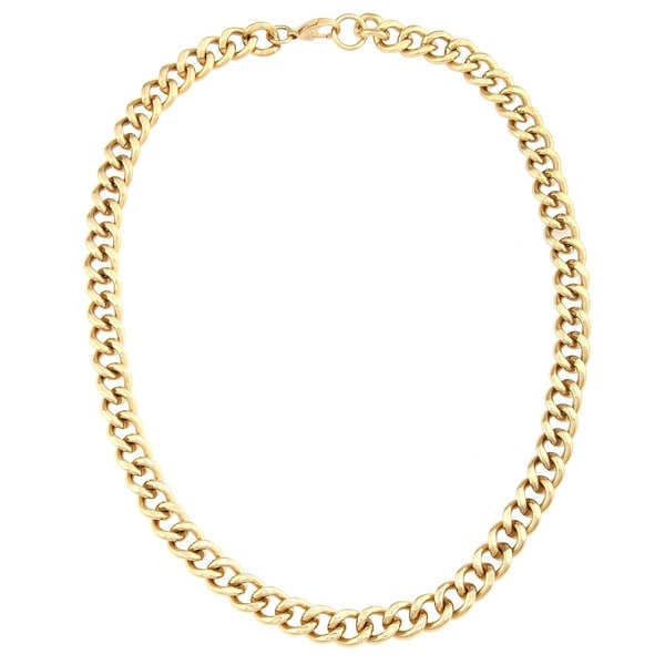 Stainless Steel and Gold IP Men's Curb Link Chain Necklace