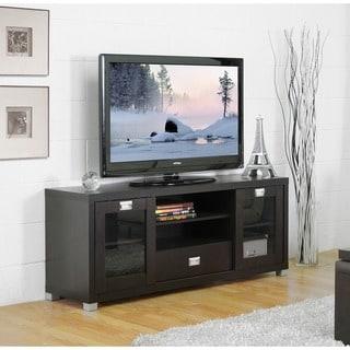 Baxton Studio 'Matlock' Modern Glass Door Dark Brown TV Stand