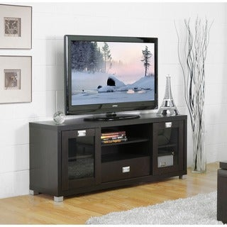 Baxton Studio 'Matlock' Modern Glass Door Dark Brown TV Stand