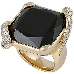 Michelle Monroe Black and White Crystal High-Polish Ring Made with SWAROVSKI Elements