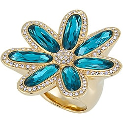 Michelle Monroe Goldtone Flower Ring Made with Swarovski Crystal Elements