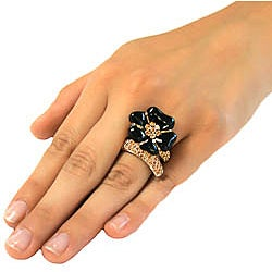 Michelle Monroe Crystal and Enamel Flower Ring Made with SWAROVSKI Elements - Thumbnail 2