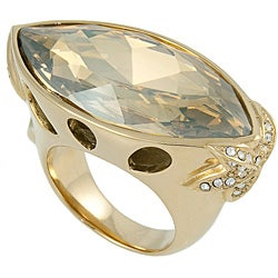 Michelle Monroe Goldtone Marquise Crystal Ring Made with SWAROVSKI Elements - Thumbnail 1