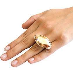 Michelle Monroe Goldtone Marquise Crystal Ring Made with SWAROVSKI Elements - Thumbnail 2