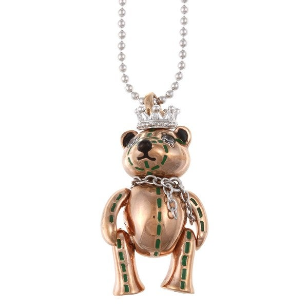Gold-Over-Silver Cubic-Zirconia and Enamel-Bear Pendant Necklace