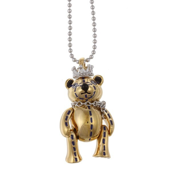 Gold over Silver Cubic Zirconia and Enamel Bear Necklace