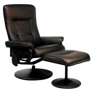 Relaxzen Brown Leather Massage Recliner (8-Motors)