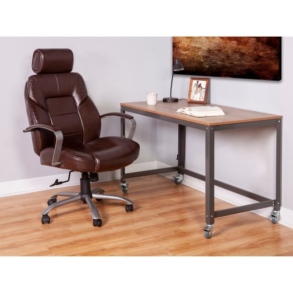 Onespace 60 5800t11 Commodore Ii Big Tall Leather Executive Office Chair Brown Home Office Desk Chairs