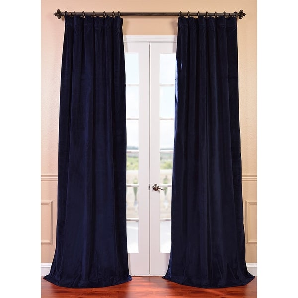 Exclusive Fabrics Signature Federal Blue Velvet 84-inch Blackout Curtain Panel