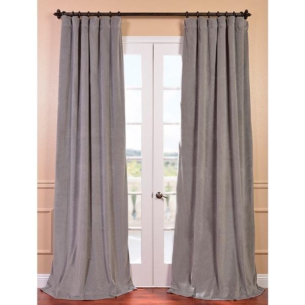 Exclusive Fabrics Signature Silver Grey Velvet 84-inch Blackout Curtain Panel