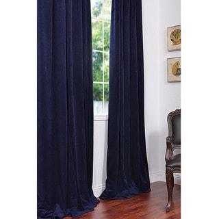 Exclusive Fabrics Signature Federal Blue Velvet 108-inch Blackout Curtain Panel