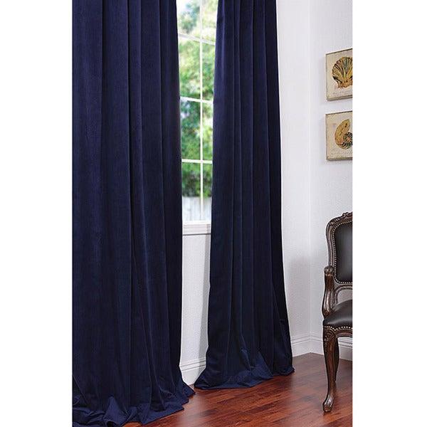 Exclusive Fabrics Signature Federal Blue Velvet 108-inch Blackout Curtain Panel