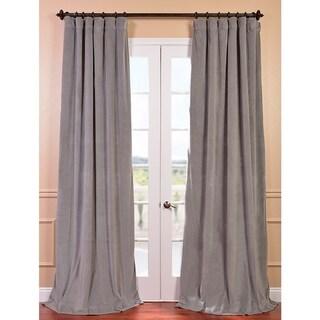 Exclusive Fabrics Signature Silver Grey Velvet 108-inch Blackout Curtain Panel