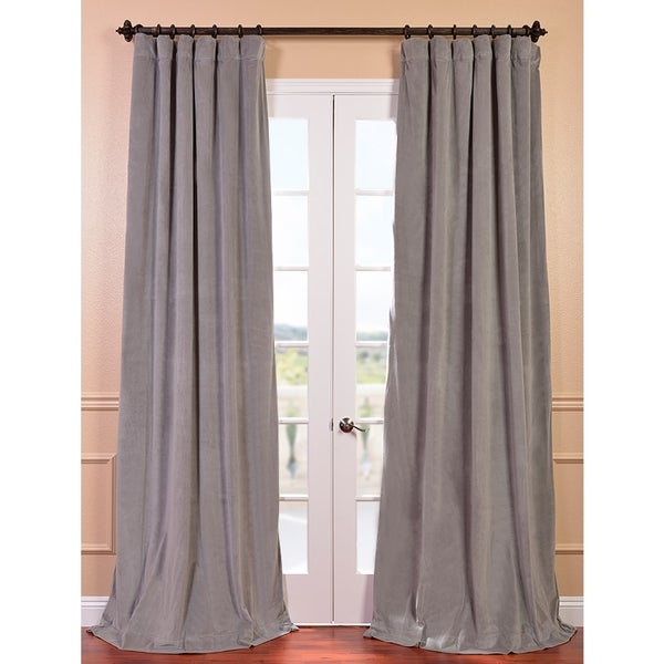 Exclusive Fabrics Signature Silver Grey Velvet 108-inch Blackout Curtain Panel