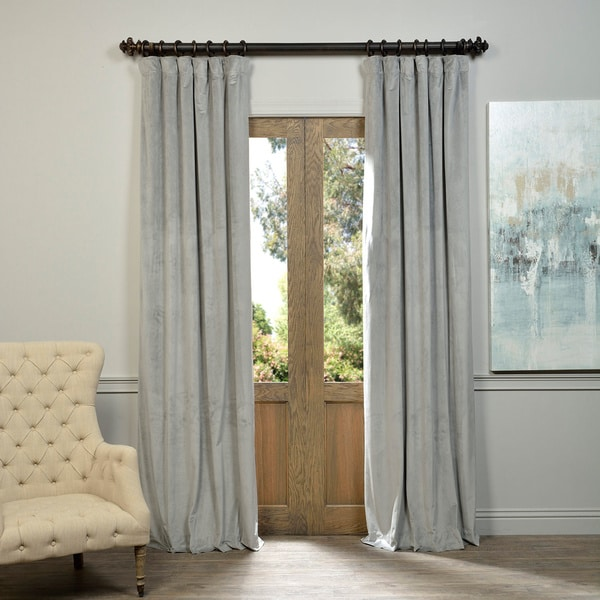 Exclusive Fabrics Signature Silver Grey Velvet Blackout Curtain Panel