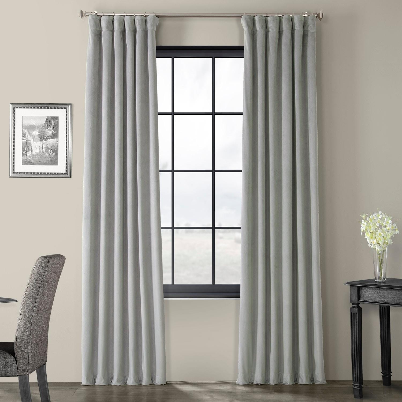 Exclusive Fabrics Signature Silver Grey Velvet Blackout C...