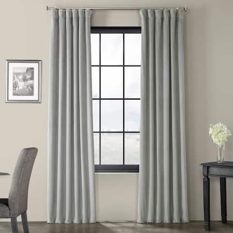 Exclusive Fabrics Signature Silver Grey Velvet Blackout Curtain Panel