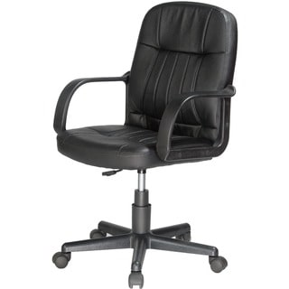 OneSpace Mid-Back Black Leather Office Chair