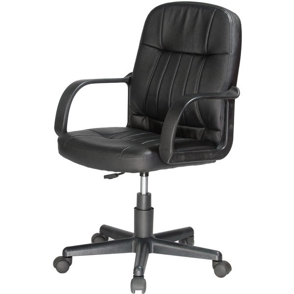 Comfort Products Black Leather Mid-back Office Chair