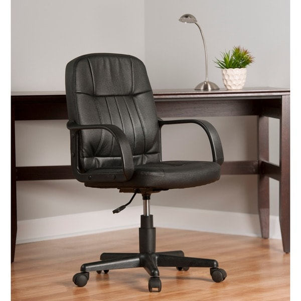 comfort products mid back black leather office chair amazon lexington modern white high race car style bucket seat