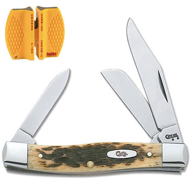 Case Cutlery Amber Bone Medium Stockman Knife and Sharpener